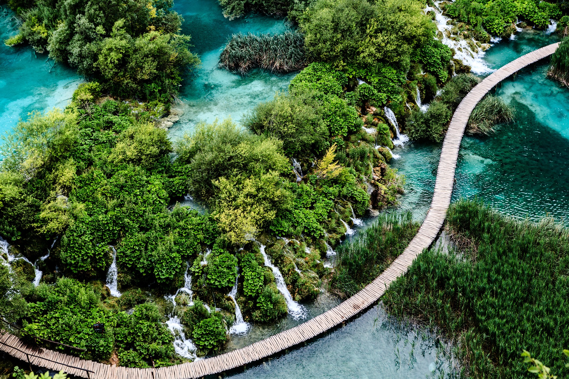 Lakes and greenery from above at Plitvice Lakes
