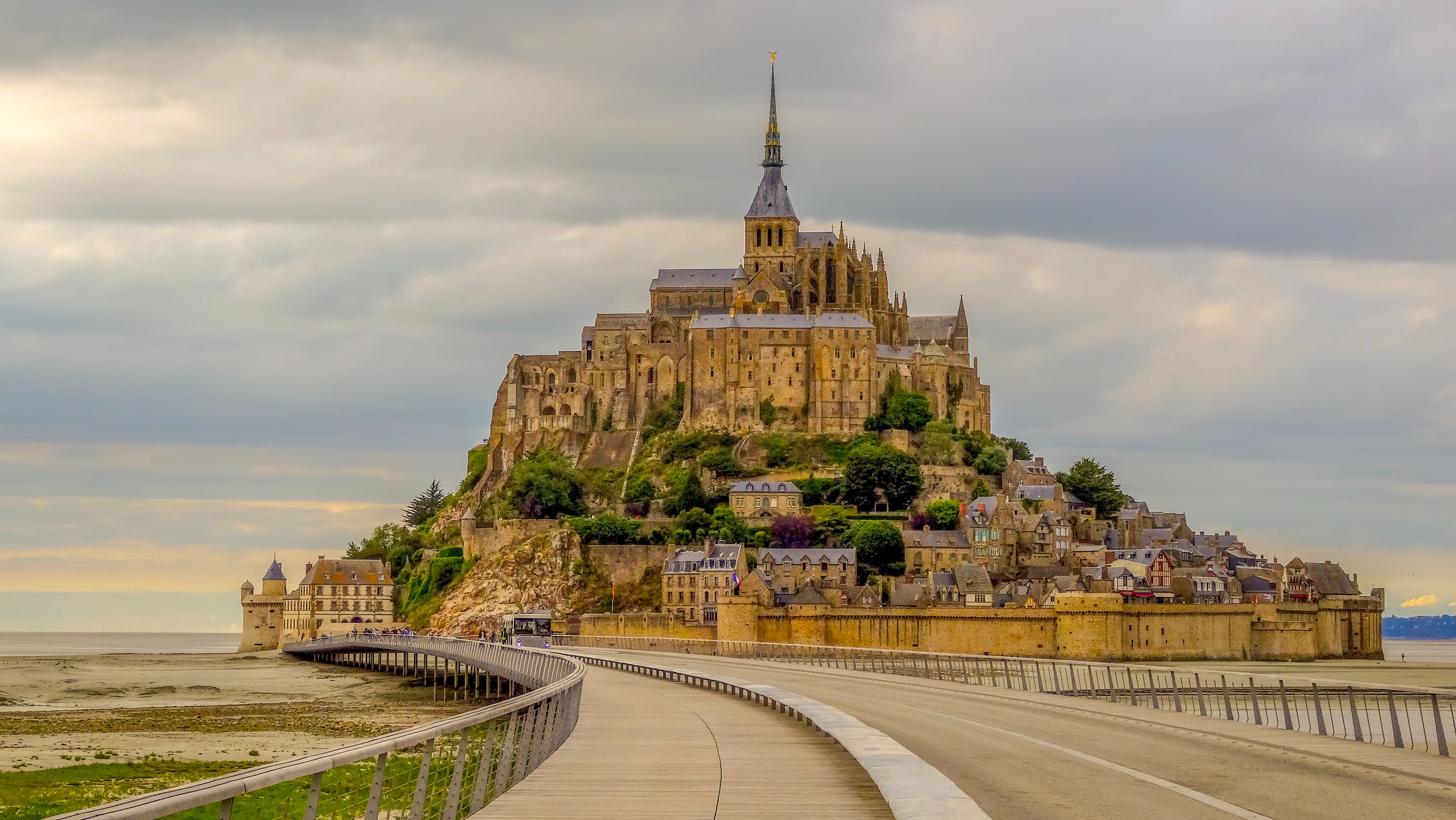 The island of Mont Saint Michel at low tide